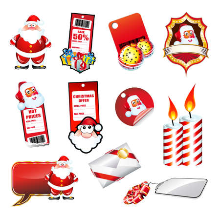 christmas elements: Mix of various Christmas Elements and Santa stickers