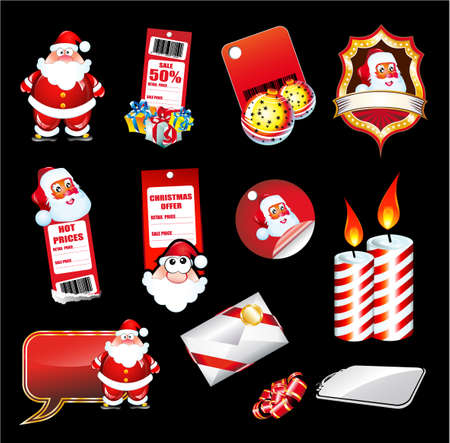 Mix of various Christmas Elements and Santa stickers Stock Vector - 5855243