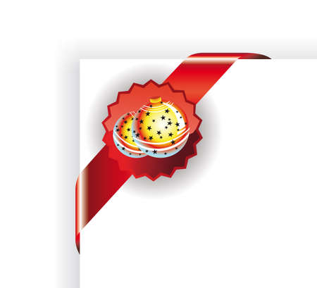Christmas Tag with Balls for Corner Cards placement Stock Vector - 5855238