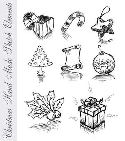 hand made: Navidad Hand Made Sketch Icons  Vectores