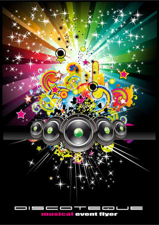 Colorful Rainbow Abstract Music Background for Disco flyers Vector