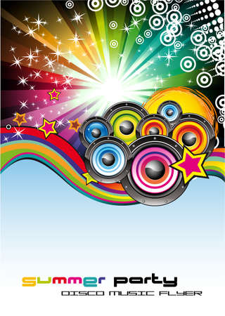 Colorful Flyer for Disco Music Event  Vector