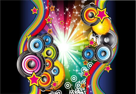 abstract music background: Colorful Rainbow Abstract Music Background for Disco flyers