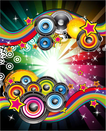 clubbing: Colorful Flyer for Disco Music Event