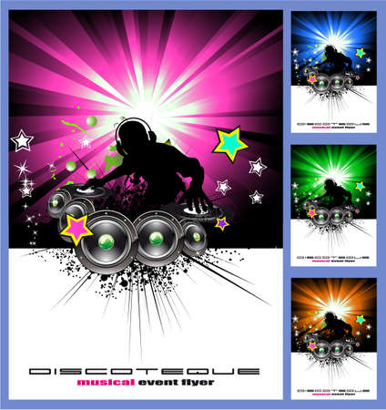 dj headphones: Coloridos disk jockey musical eventos Fondo para disco volante Vectores