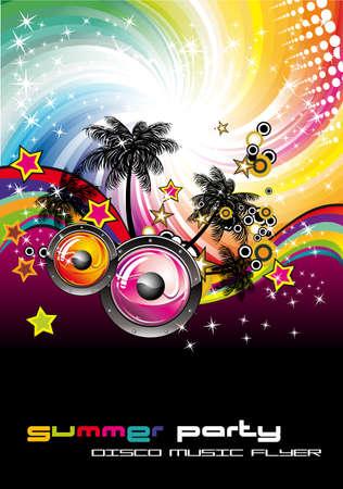 fiesta en la playa: Tropical Music Event colorida Fondo para volantes de disco