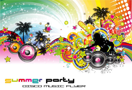 discoteque: Tropical Music Event Colorful Background for Disco flyers
