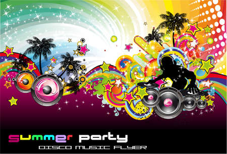 Tropical Music Event Colorful Background for Disco flyers Stock Vector - 5855328