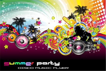 disk jockey: Tropicale Music Event colorato sfondo per disco volantini