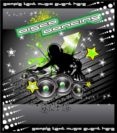 dj mixer: Colorful Disk Jockey Musical Event  Background for Disco Flyer