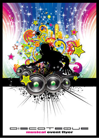 disk jockey: Tropical Music Event Colorful Background for Disco flyers