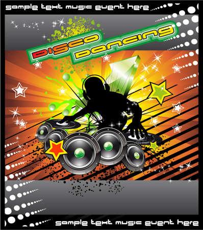 disk jockey: Colorato sfondo eventi musicali disk jockey per Disco Flyer