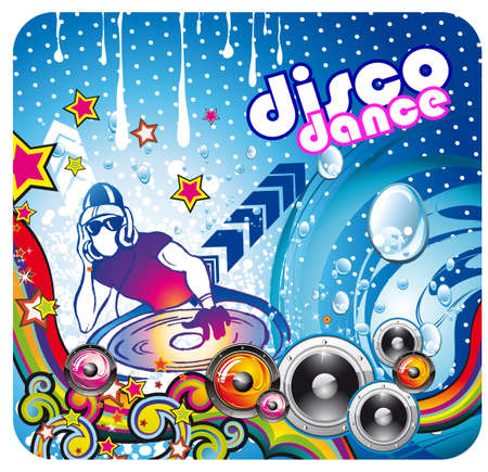 Disco Dance Colorful Music Background for Poster or Flyers Vector