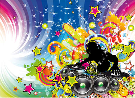 jockeys: Tropical Music Event Colorful Background for Disco flyers