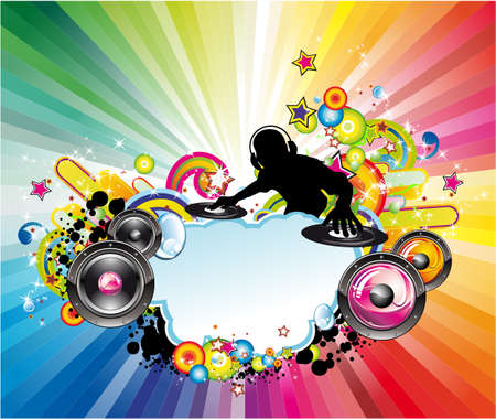 disk jockey: Flyer di eventi musicali with Colorful Abstract Elements