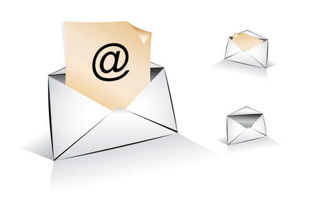 Set of Email Illustration with Shadows  Vector