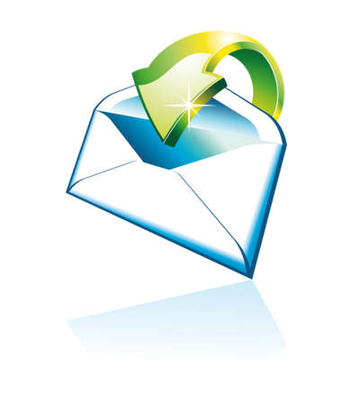 Threedimentional Email Icon with Reflection Stock Vector - 5855105