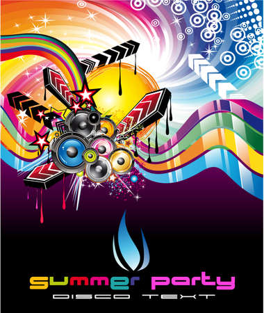 Rainbow Colorful Discoteque Event Flyer Vector