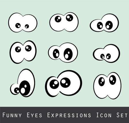 cartoon face: Abstract Funny Eves Expression Set