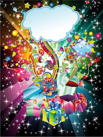 Colorful Christmas Gift Background with Abstract Design Elements Vector