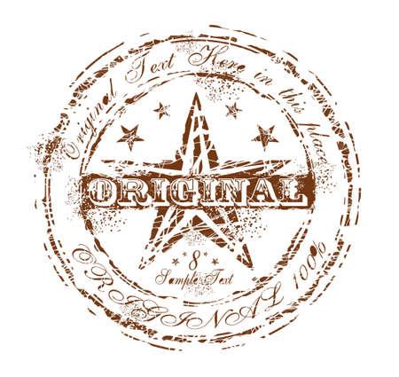 Damnaged Grunge and Vintage Original Rubber Stamp Brown Stock Vector - 5855264