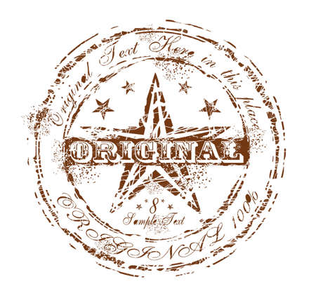 Damnaged Grunge and Vintage Original Rubber Stamp Brown Vector