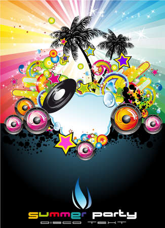 beach ball girl: Tropical Music Event Disco Flyer with rainbow colours Illustration