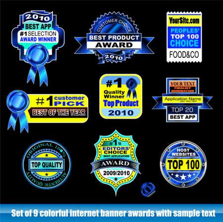 zertifizierung: Sammlung von Internet-Zertifizierung-Award-Banner f�r schwarze Hintergr�nde Illustration