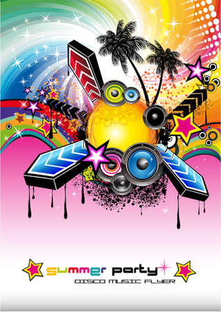 Colorful Flyer for Tropilcal Disco Music Event  or Party Vector