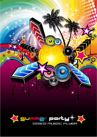 club lights: Colorful Flyer for Tropilcal Disco Music Event  or Party Illustration