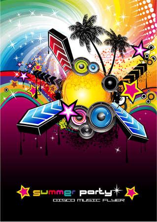 Kleurrijke Flyer voor Tropilcal Disco muziekevenement of feest