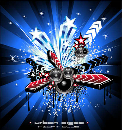 American Discoteque Event Background for Disco Flyers with USA Flag motive Vector