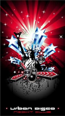 statue of liberty: American Discoteque Event Background for Disco Flyers with USA Flag motive
