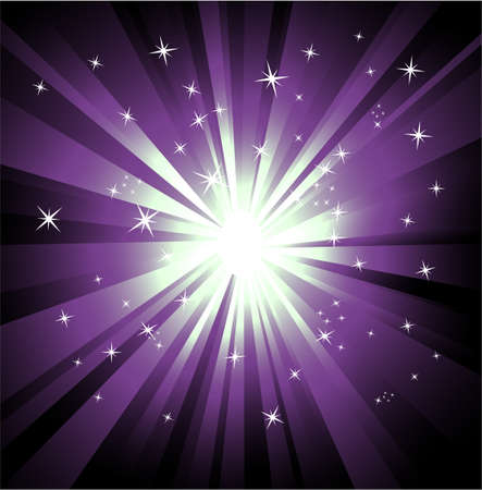 Colorful Explosion of violet and green raylights Vector
