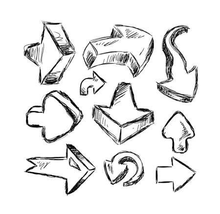 hand made: Estilo 3D divertida colecci�n de Hand Made Sketch flechas