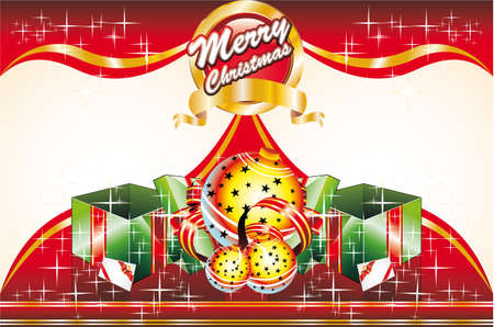 Merry Christmas Card with Giftbox and Space for text (front and retro cover) Vector