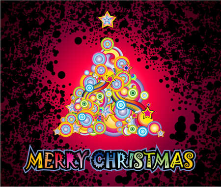 Fantasy Elements Christmas Tree with Magic lights atmosphere background Vector