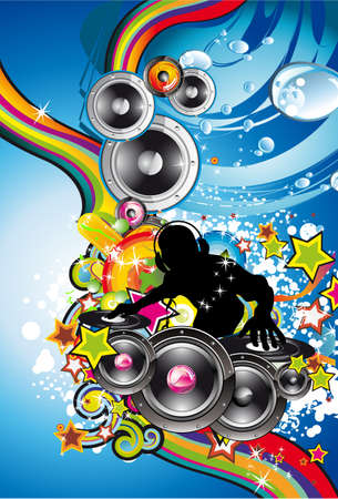 rap music: Abstract Water Discoteque Colorful Background