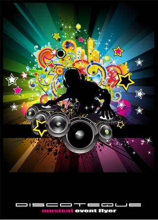 Explosion of colors music event Background for Discoteque flyers Vector
