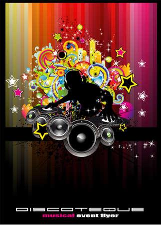 electronic music: Electronic Music Dj Disco evento sfondo con elementi colorati