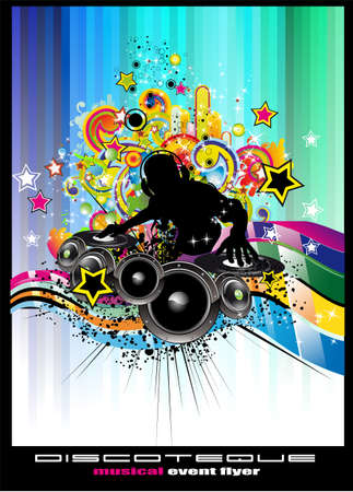 Electronic Music Dj Disco Event Background with colorful elements Vector