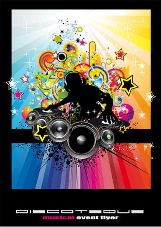Rainbow Techno Discoteque Flyer with Abstract DJ silhouette. Vector