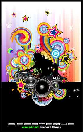 hip hop dancing: Rainbow Techno Discoteque Flyer with Abstract DJ silhouette. Illustration