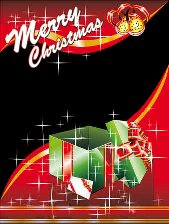 Merry Christmas Card with Giftbox and Space for text  Vector
