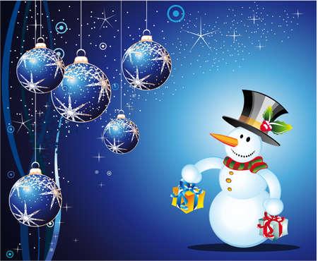 Merry Christmas Greetings card with cartoon snowman Stock Vector - 6125641