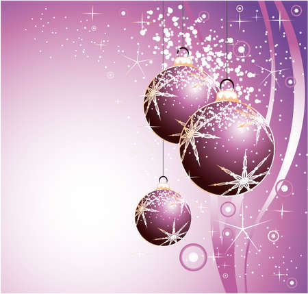 Greetings Colorful Background with Vaus Christmas Balls. Stock Vector - 6125601