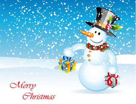Merry Christmas Greetings card with cartoon snowman Vector