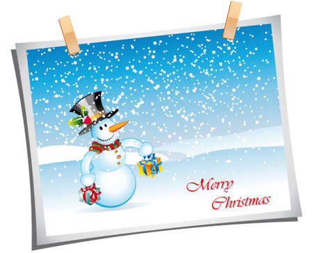 Merry Christmas Greetings card with cartoon snowman Stock Vector - 6125625