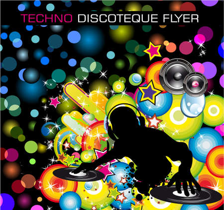 rapper: Folleto de Discoteque de Techno de arco iris con silueta de abstract DJ. Vectores