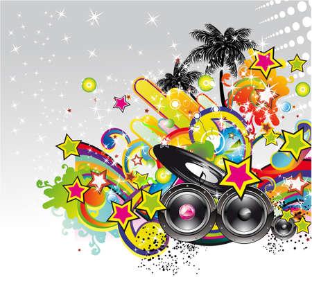 Tropische en latin muziek evenement achtergrond voor flyers en affiches  Vector Illustratie